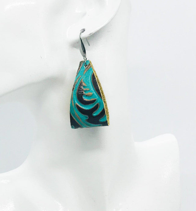 Brown and Turquoise Embossed Leather Earrings - E19-881