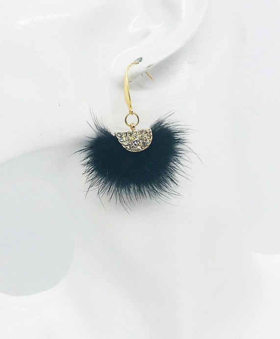 Black Mink Fur Fan Shaped Tassel Earrings - E19-883