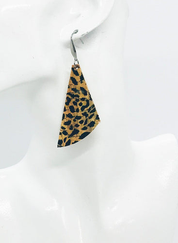 Spotted Cheetah Cork Leather Earrings - E19-889
