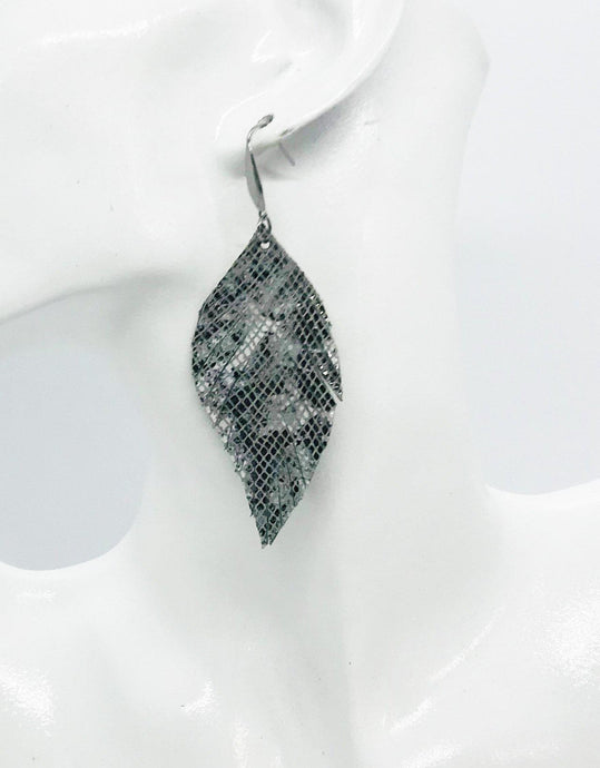 Genuine Frayed Snake Leather Earrings - E19-891