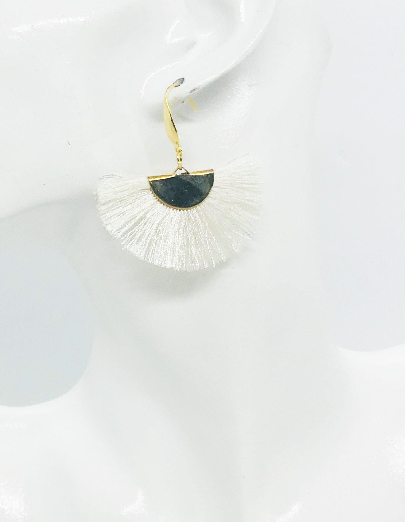 White Fan Shaped Tassel Earrings - E19-894