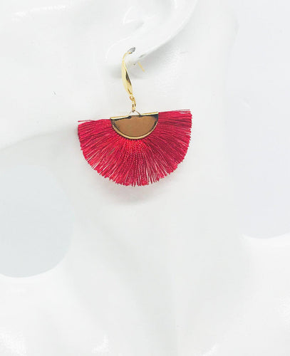 Red Fan Shaped Tassel Earrings - E19-895