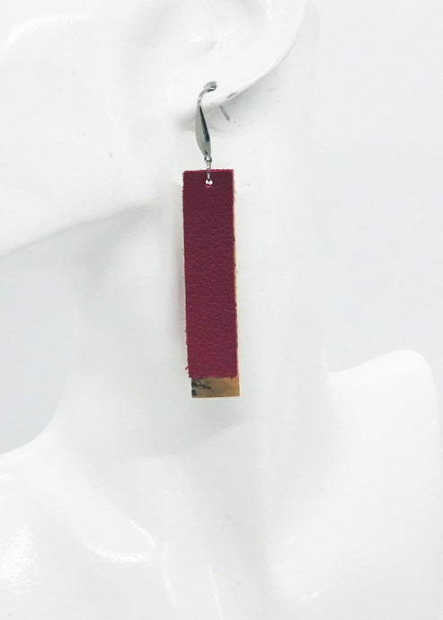 Red Genuine Leather and Natural Cork Earrings - E19-909