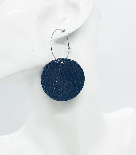 Navy Leather Hoop Earrings - E19-914