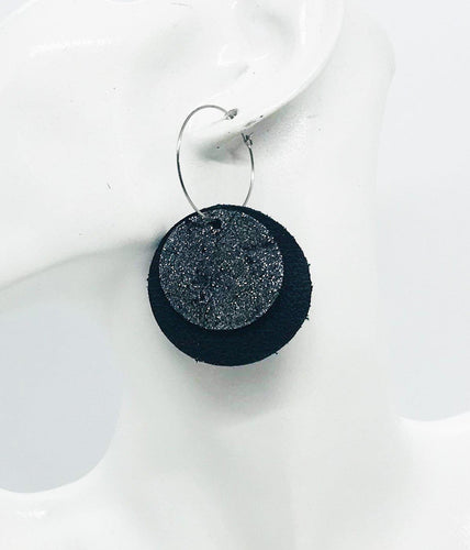 Black Leather and Metallic Silver Leather Earrings - E19-924