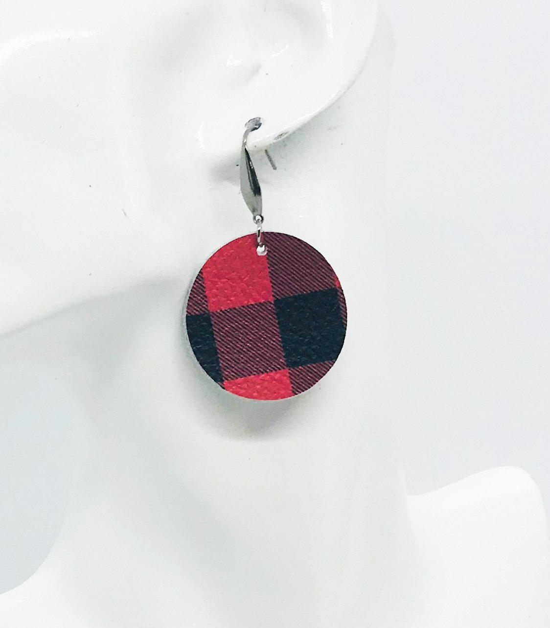 Buffalo Plaid Leather Earrings - E19-927