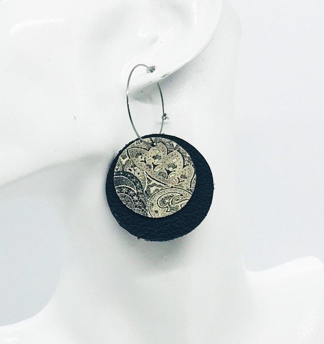 Biker Black and Paisley Black Leather Hoop Earrings - E19-929