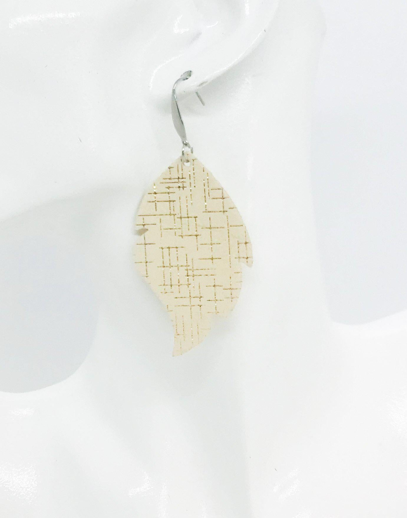 Rose Gold on Vanilla Leather Earrings - E19-931