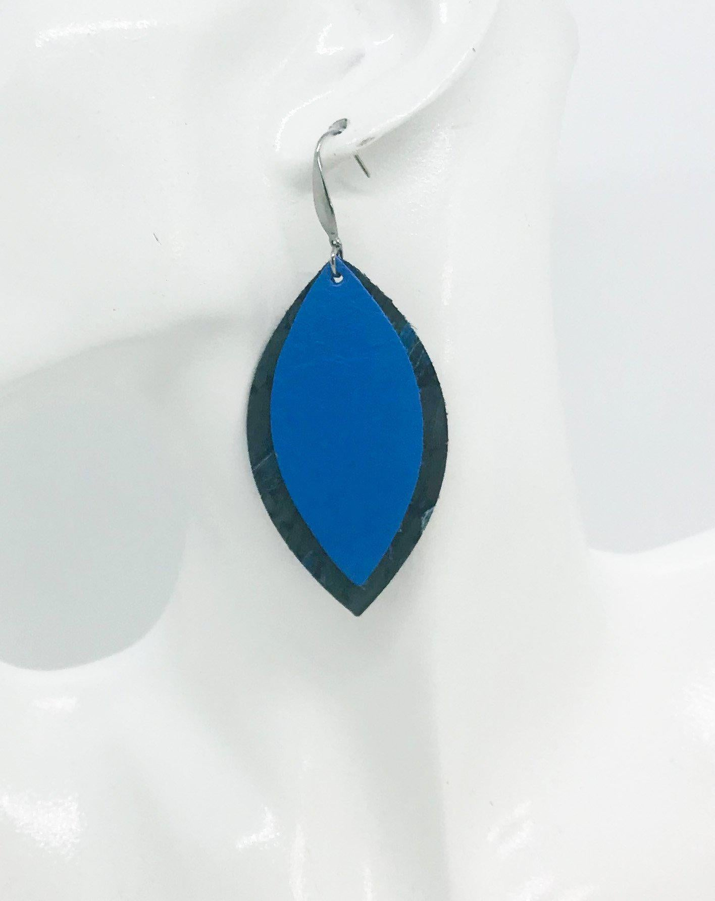 Spotted Blue Cork and Sky Blue Leather Earrings - E19-932