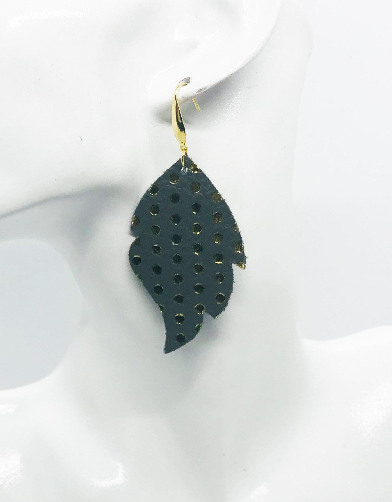 Metallic Grey and Gold Polka Dot Leather Earrings - E19-937