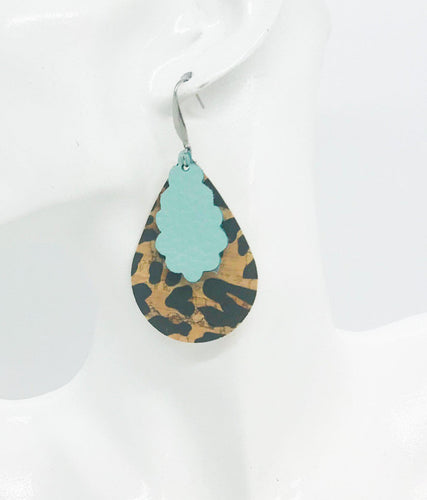 Leopard Cork and Teal Leather Earrings - E19-941