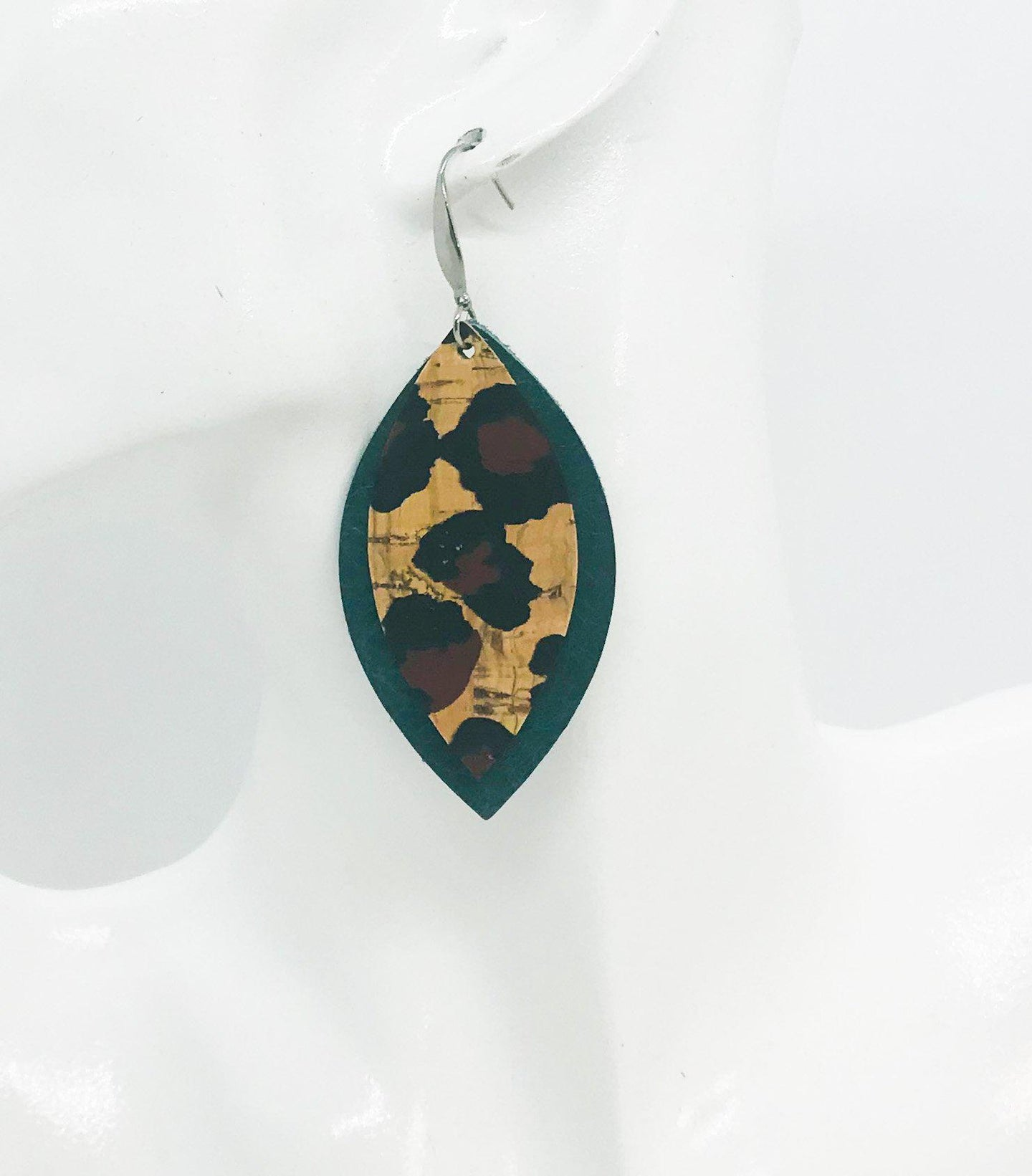 Leopard Cork and Green Leather Earrings - E19-948