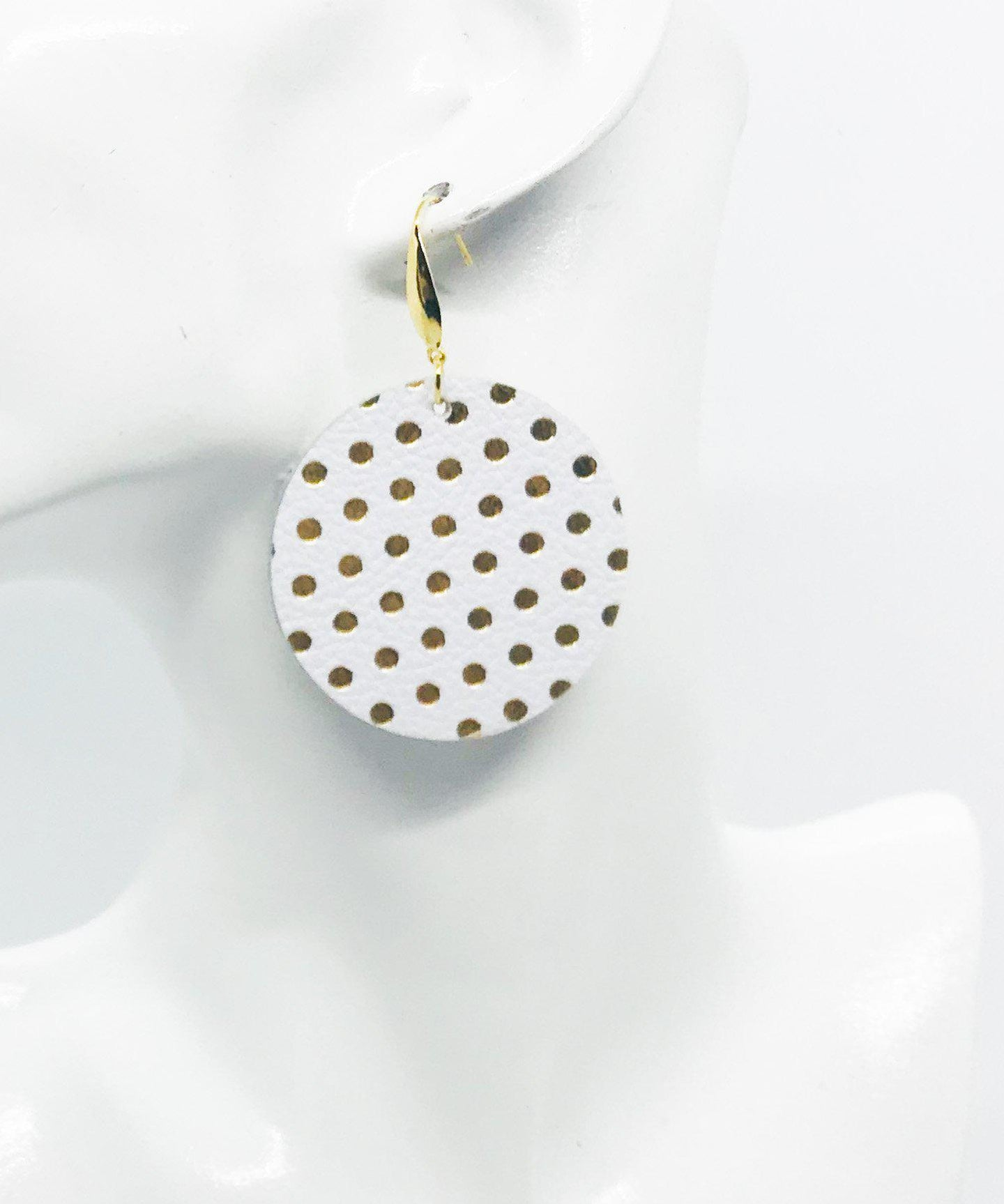 White and Gold Polka Dot Leather Earrings - E19-953