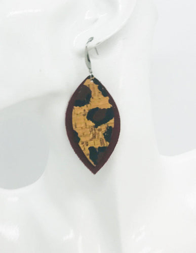 Leopard Cork and Suede Leather Earrings - E19-958