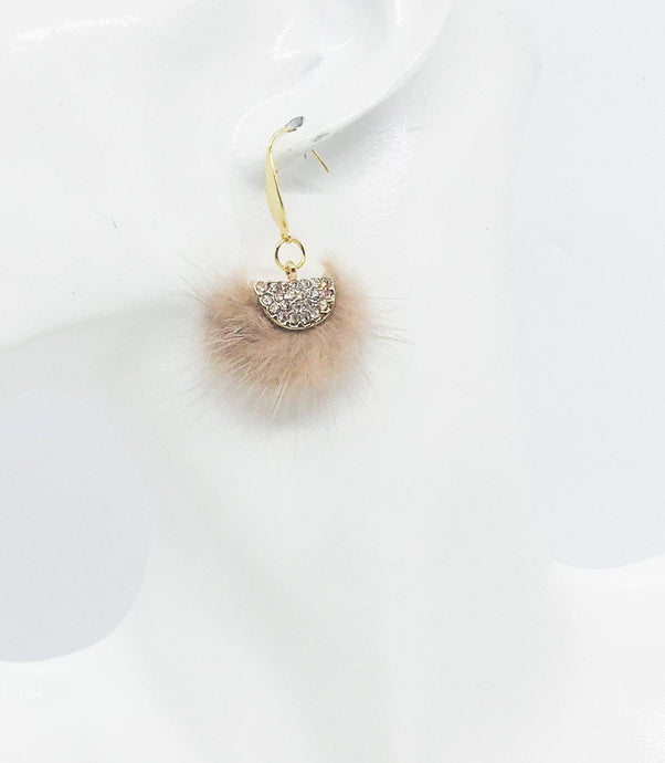 Camel Mink Fur Fan Shaped Tassel Earrings - E19-961