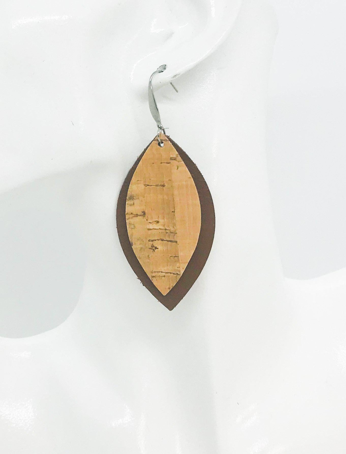 Brown Leather and Cork Earrings - E19-964