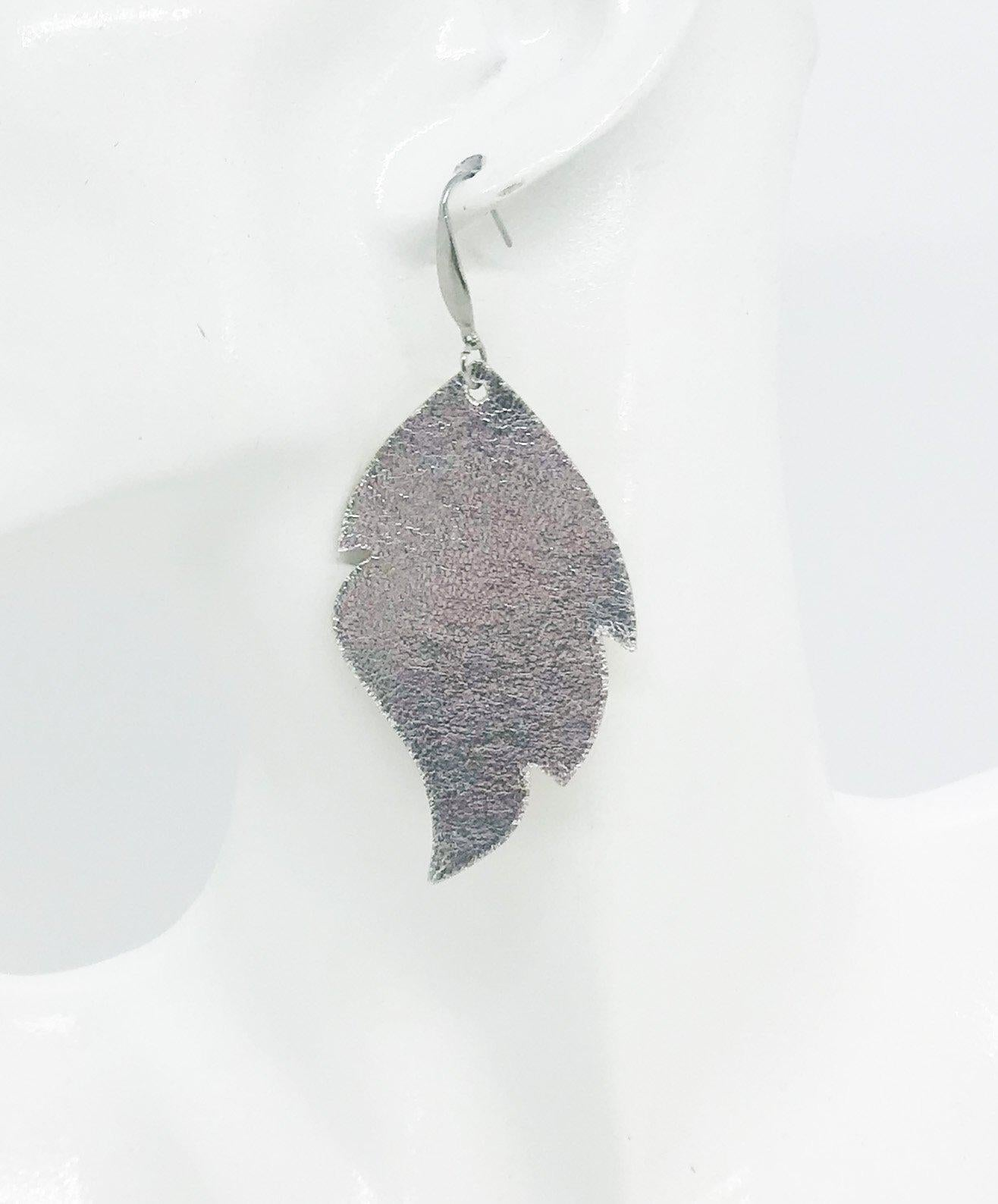 Metallic Silver Leather Earrings - E19-967