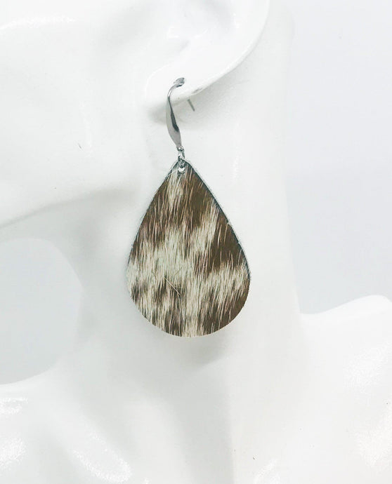 Hair On Speckled Brown Leather Earrings - E19-975