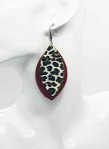 Red and Cheetah Print Leather Earrings - E19-988