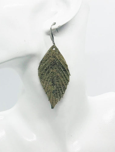 Platinum Crackle Frayed Leather Earrings - E19-993