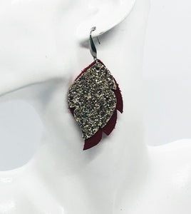 Red and Gold Chunky Glitter Leather Earrings - E19-995