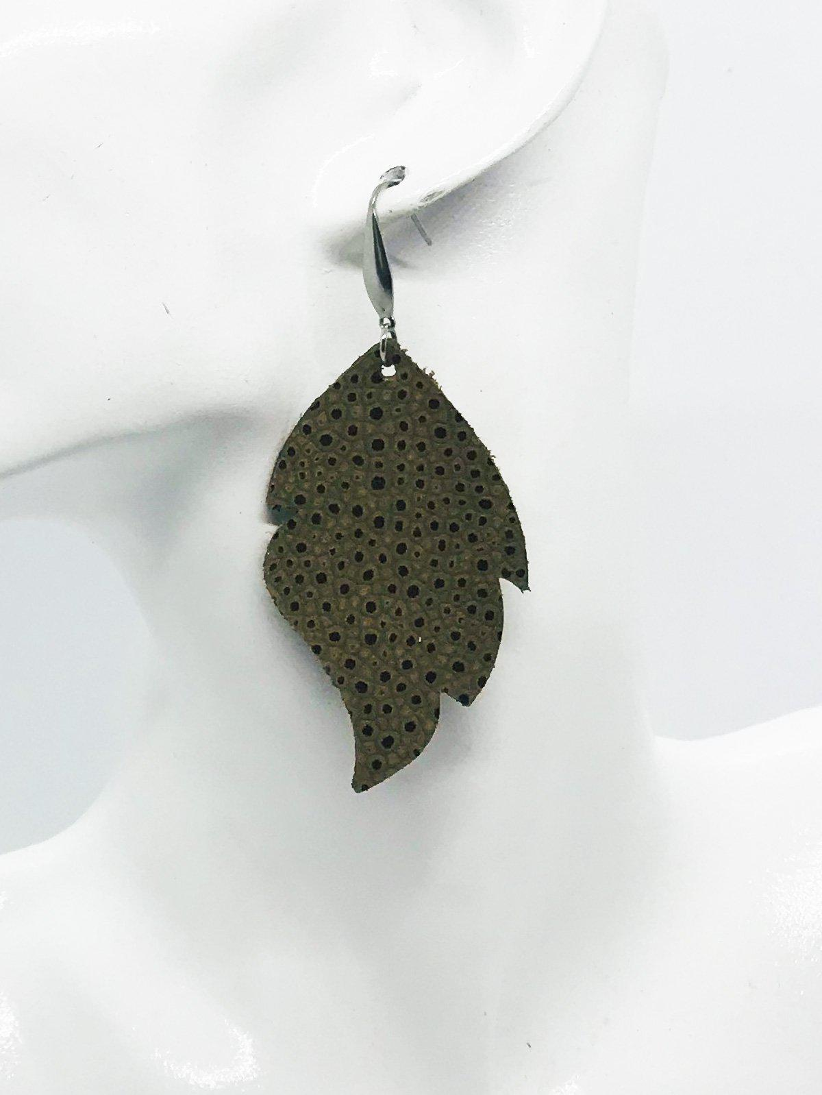 Brown Textured Leather Earrings - E19-998
