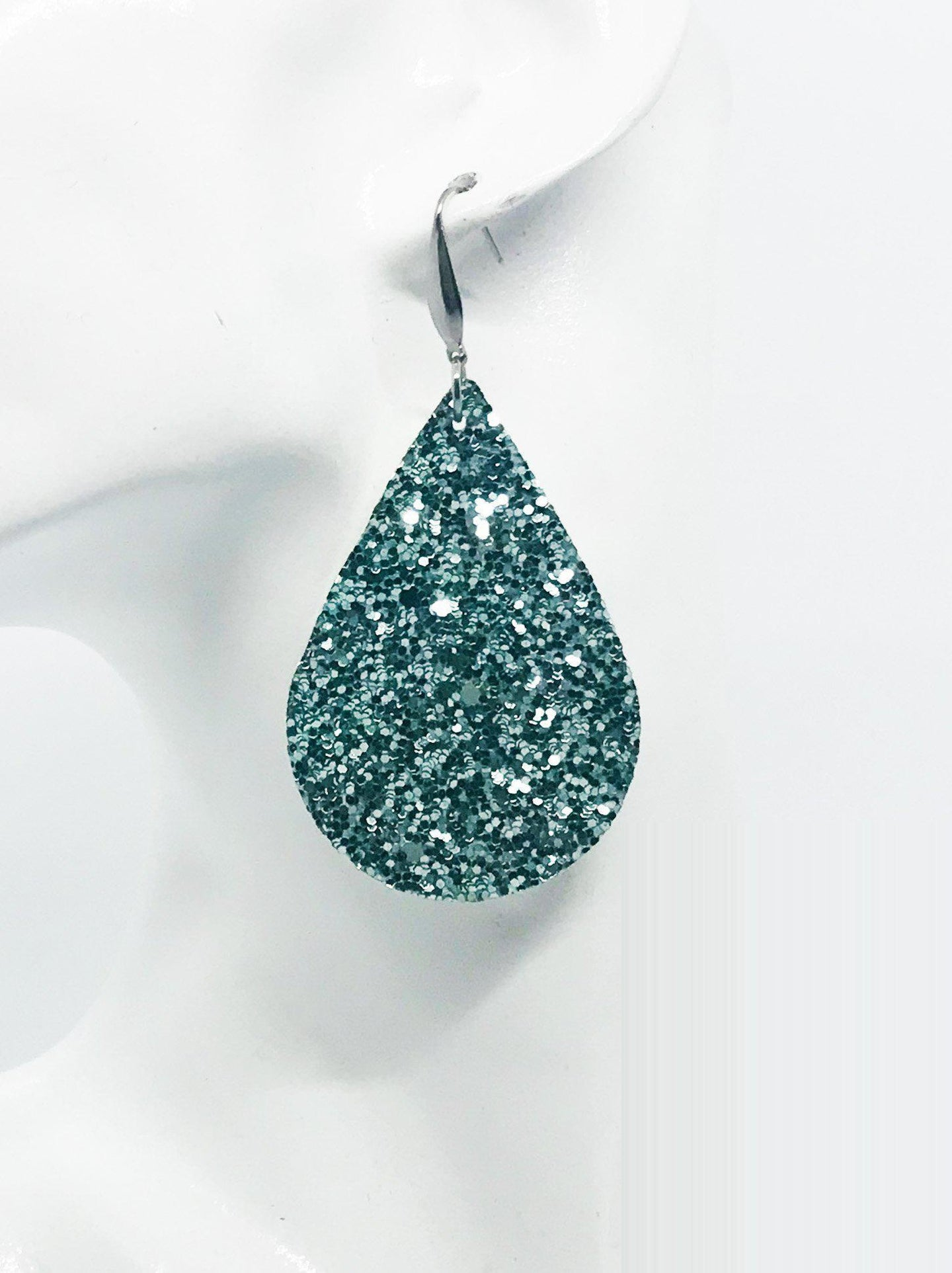 Teal Chunky Glitter Earrings - E270