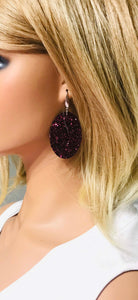 Maroon Chunky Glitter Earrings - E375