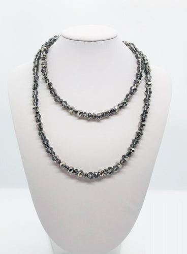 Silver Glass Bead Necklace - N101