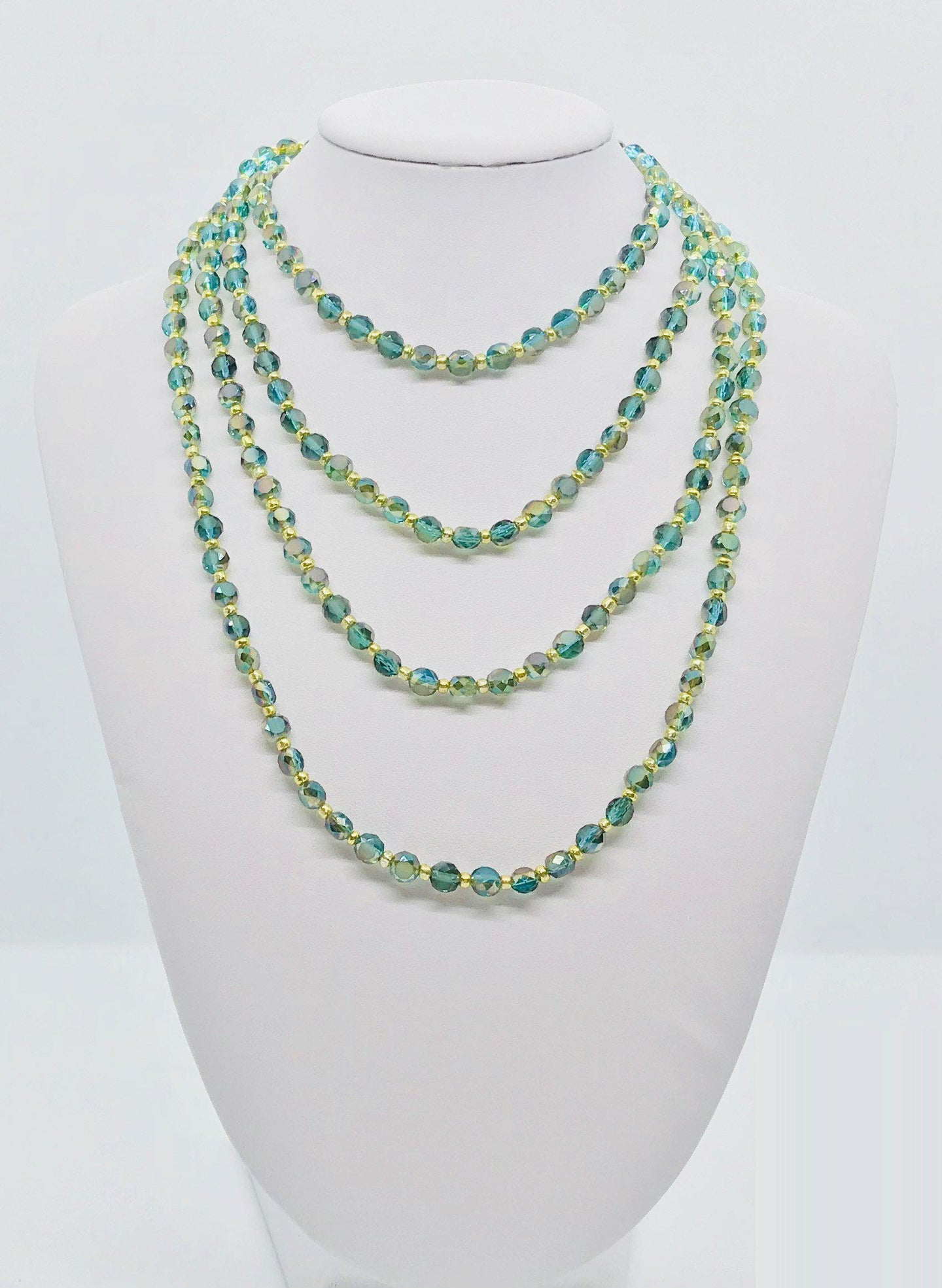 Green and Gold Glass Bead Necklace - N120