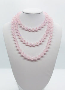 Pink and Clear Glass Bead Necklace - N121