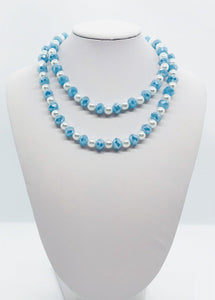 Light Blue and Pearl Glass Bead Necklace - N122