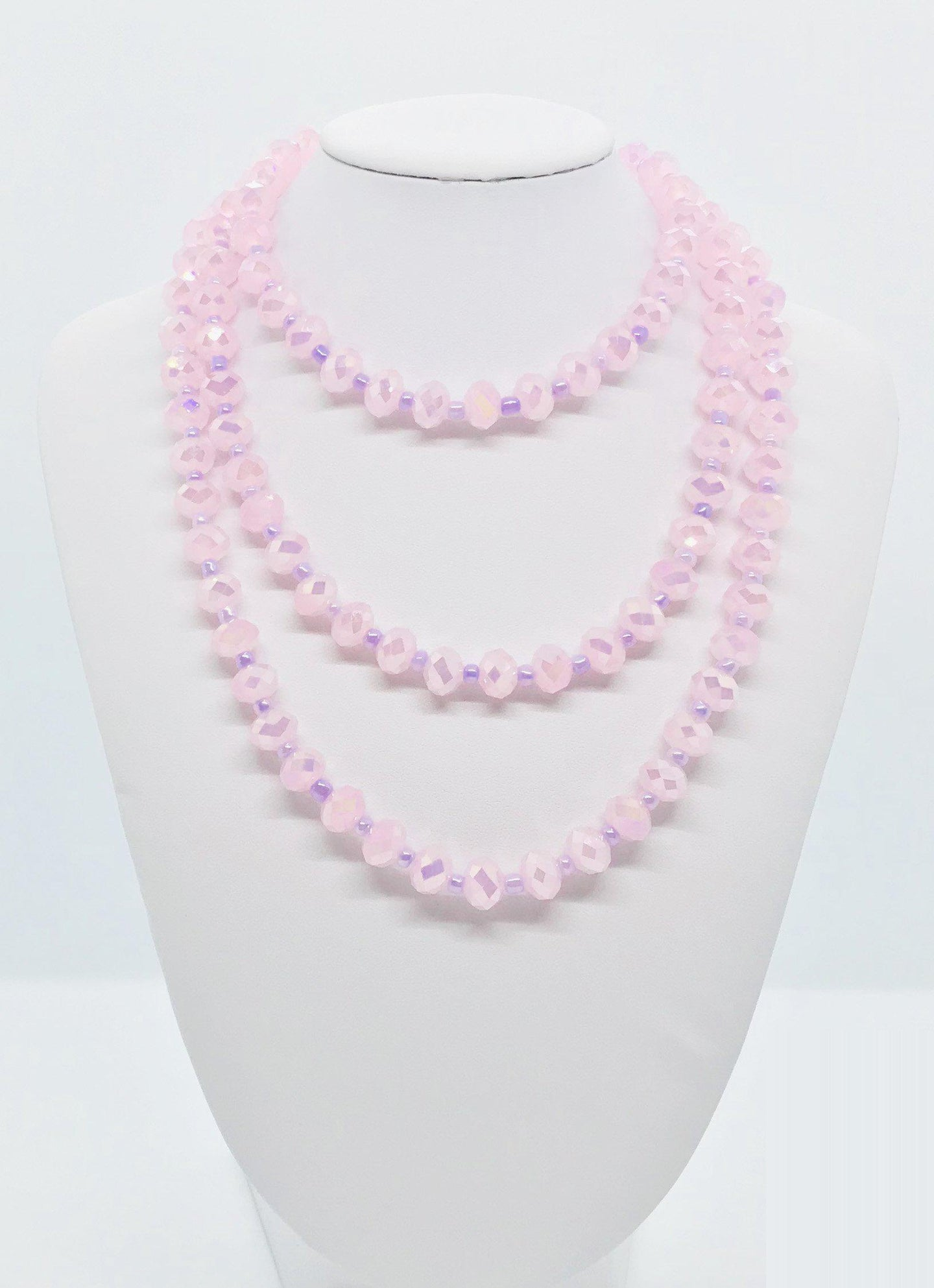 Pink and Purple Glass Bead Necklace - N127