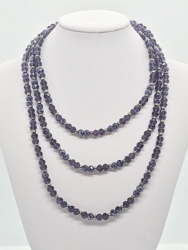 Purple Glass Bead Necklace - N140