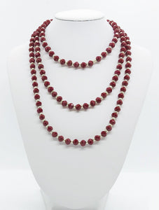 Deep Red and Silver Glass Bead Necklace - N144