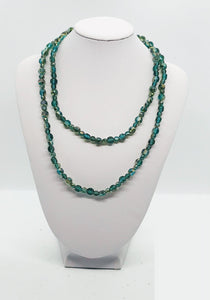 Dark Teal Glass Bead Necklace - N145