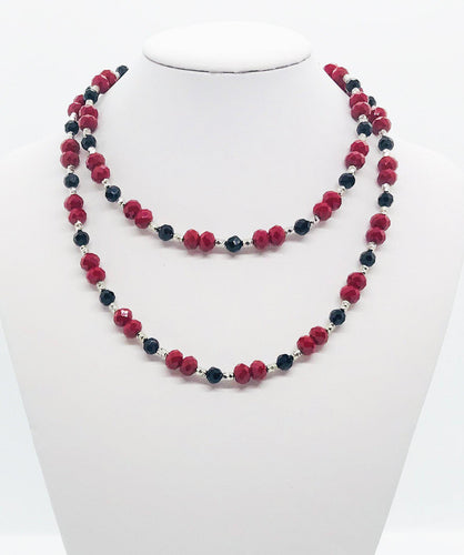 Red, Black and Silver Glass Bead Necklace - N150