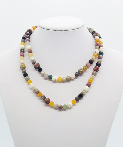 Multi Color Glass Bead Necklace - N157