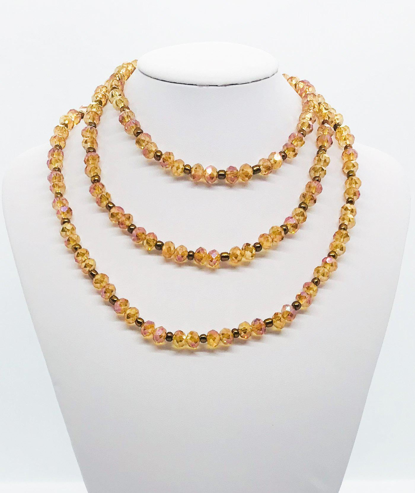 Tan and Brown Glass Bead Necklace - N161