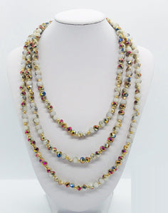 Multi Color Glass Bead Necklace - N167