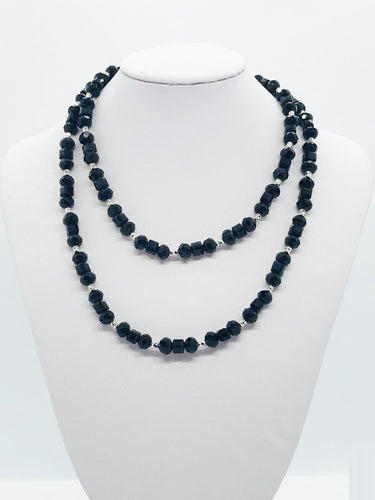 Black Glass Bead Necklace - N174