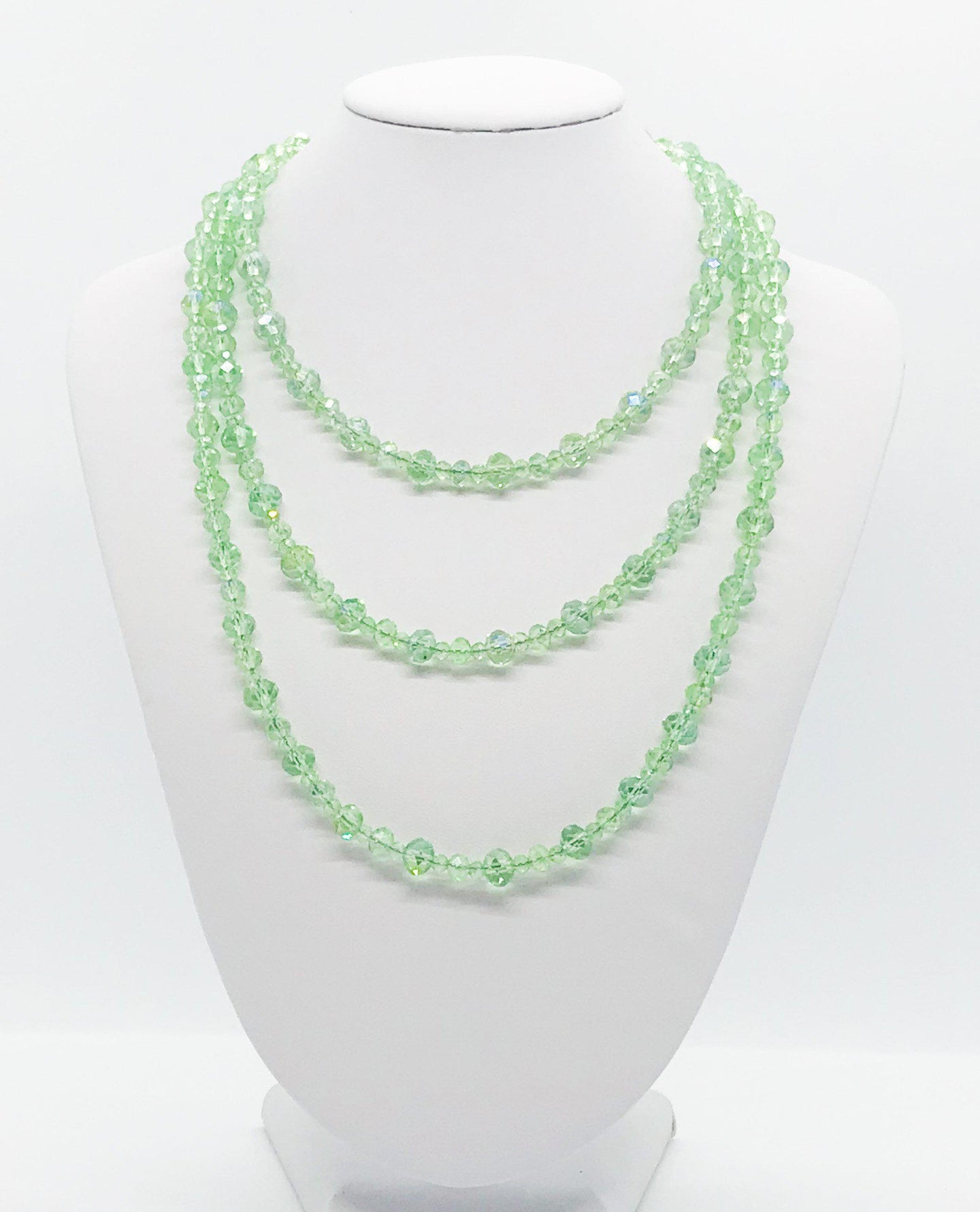 Green Glass Bead Necklace - N191