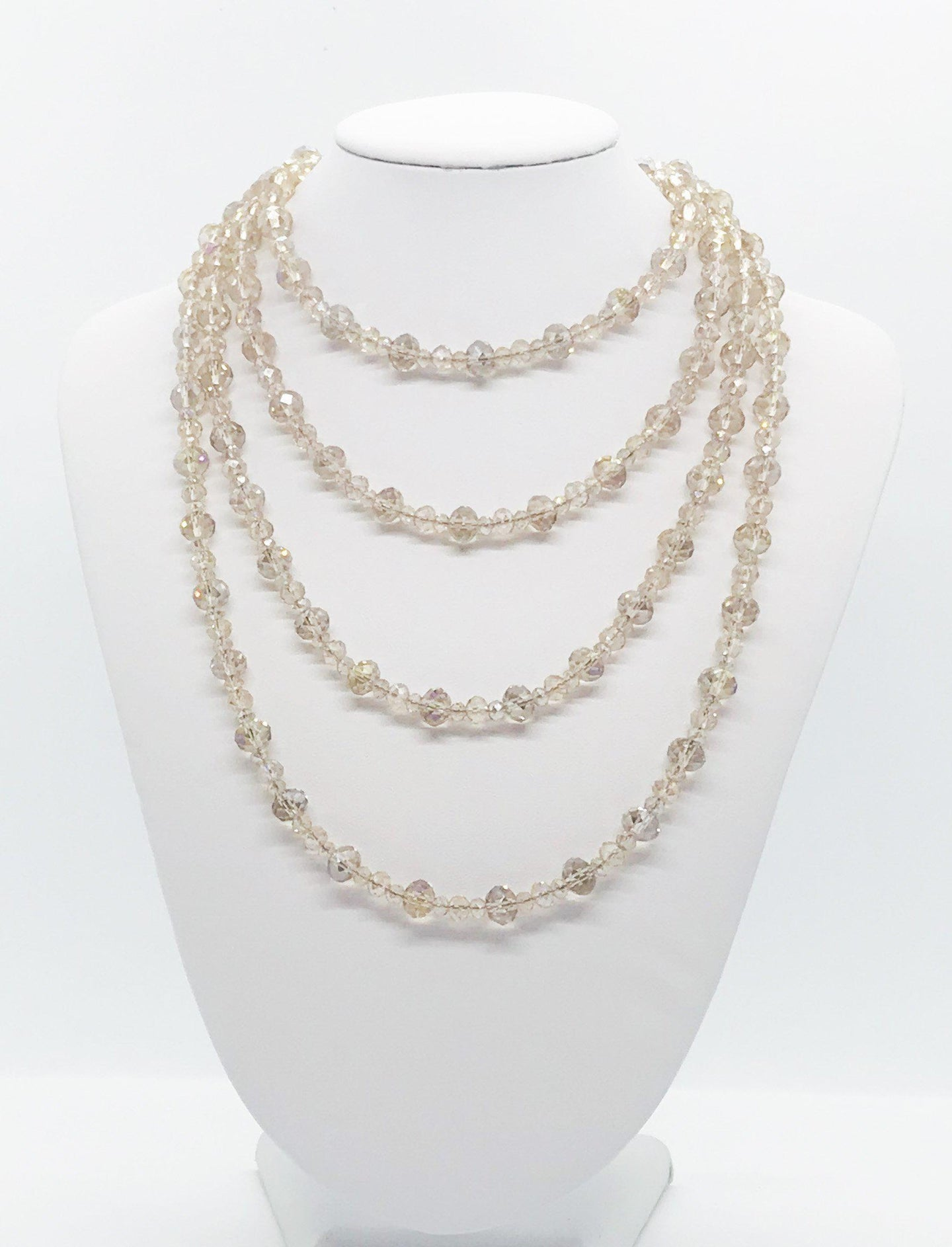 Champagne Color Glass Bead Necklace - N194