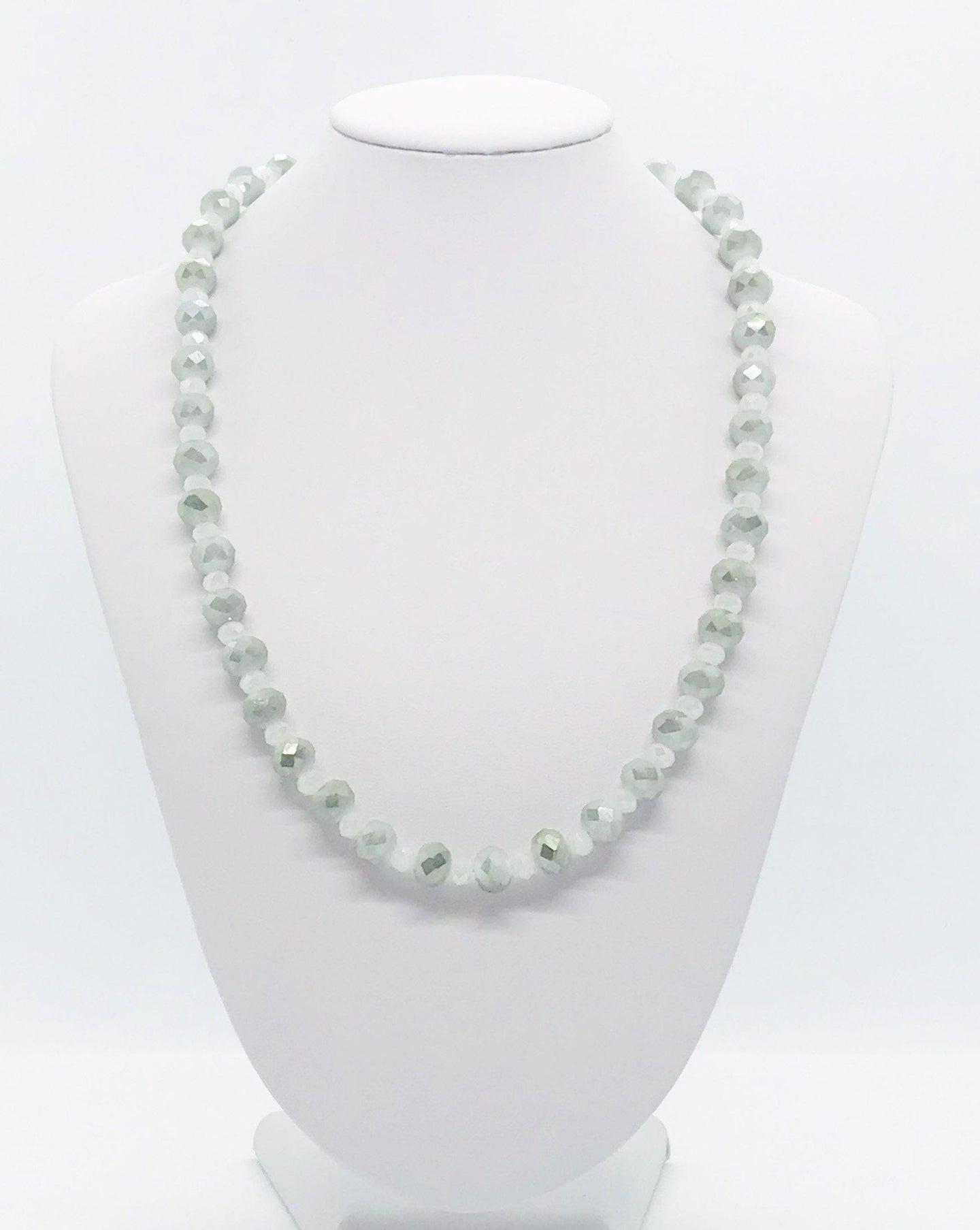 Grey and White Glass Bead Necklace - N199