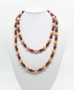 "36"" Gold, Crimson and Gray Glass Bead Necklace - N237"