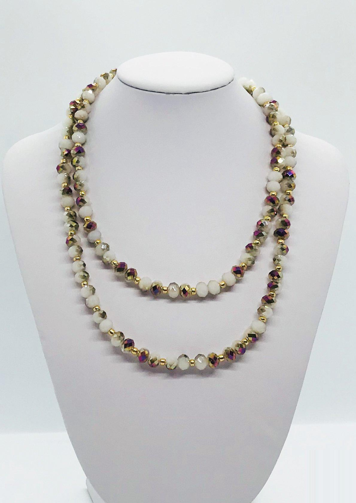 Glass Bead Necklace and Matching Bracelet Set - NB113