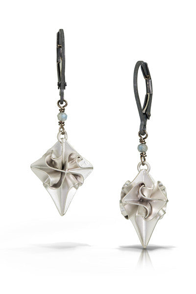 stardust earrings with one stone - silver