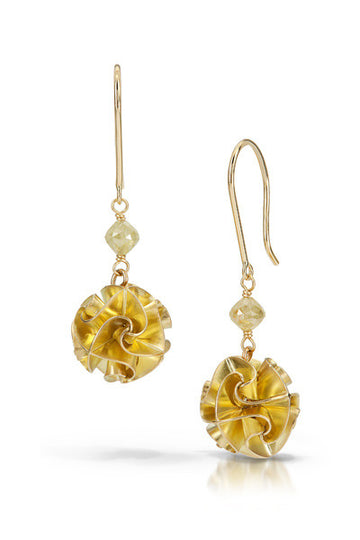 18k flora earrings with yellow diamond - short