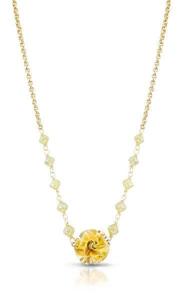18k flora necklace on chain with yellow diamond