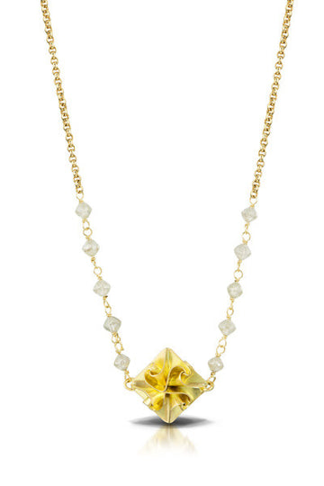 18k stardust necklace on chain with grey diamond